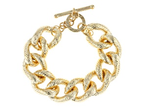 18k Yellow Gold Over Bronze Textured Grande Curb 8 3/4 inch Bracelet