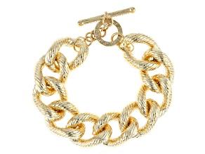 18k Yellow Gold Over Bronze Textured Grande Curb 8 3/4 inch Bracelet