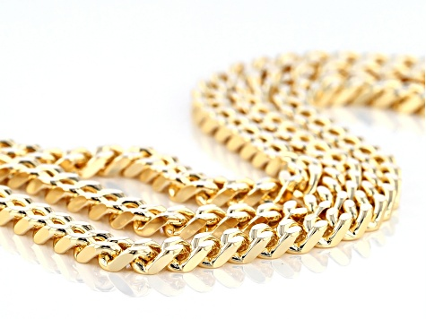 18k Yellow Gold Over Bronze Multi-Row Curb 8 inch Bracelet