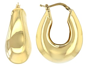 18k Yellow Gold Over Bronze Artform Faceted Hoop Earrings