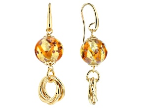 18k Yellow Gold Over Bronze Rosetta Bead Dangle Earrings