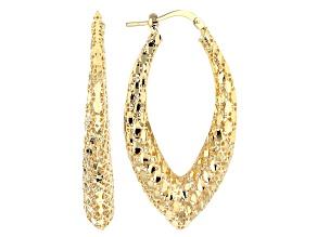 18k Yellow Gold Over Bronze Filigree Navette Earrings