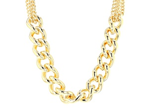 18k Yellow Gold Over Bronze Multi-Strand Graduated Curb 20 1/2 inch Necklace