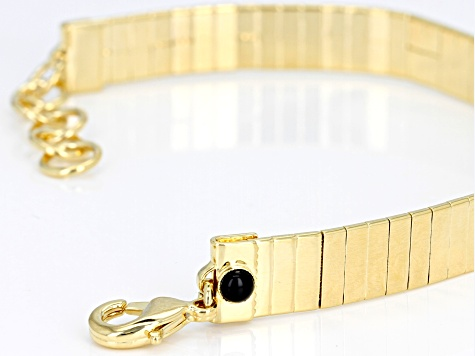 0.20ct Onyx 18k Yellow Gold Over Bronze Omega 7 1/2 inch plus 1 inch Extender Bracelet