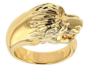 18k Yellow Gold Over Bronze Lion Head Ring