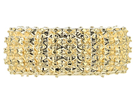 18k Yellow Gold Over Bronze Designer Lattice Ring