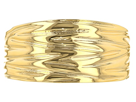 18k Yellow Gold Over Bronze Designer Cigar Band Ring