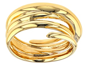18k Yellow Gold Over Bronze Designer Swirl Ring