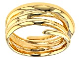 18k Yellow Gold Over Bronze Designer Swirl Ring