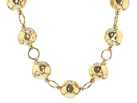 18k Yellow Gold Over Bronze Hammered Bead 22 1/2 inch Necklace