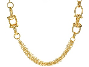 Moda Al Massimo® 18k Yellow Gold Over Bronze Multi-Strand Designer Station 34 inch Necklace