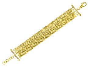 18k Yellow Gold Over Bronze Multi-Strand Spiga 9 inch Bracelet