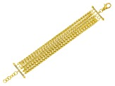 18k Yellow Gold Over Bronze Multi-Strand Spiga 9 inch Bracelet