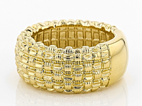 18k Yellow Gold Over Bronze Cushion Band Ring