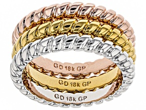 18k Yellow Gold Rose Gold & Rhodium Over Bronze Rope Braid Set Of Three Rings