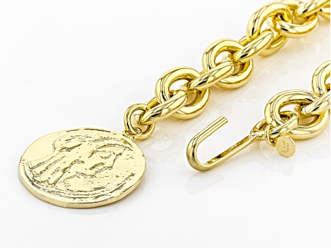 18k Yellow Gold Over Bronze Rolo Coin 40 Inch Necklace