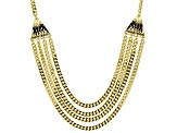 18k Yellow Gold Over Bronze Multi-Strand Curb 23 1/2 inch Necklace