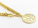 18k Yellow Gold Over Bronze Lariat 37 1/2 inch Necklace