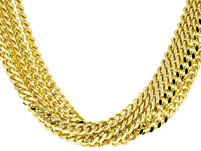 18k Yellow Gold Over Bronze Multi-Strand Curb 28 1/2 inch Necklace