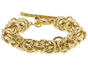 18k Yellow Gold Over Bronze Byzantine 8 inch Bracelet