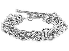 Rhodium Over Bronze Byzantine 8 inch Bracelet