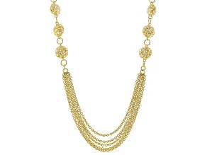 18k Yellow Gold Over Bronze Multi-Strand Filigree Station 33 inch Necklace