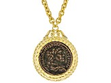 18k Yellow Gold Over Bronze Replica Lira Coin 23 1/2 inch Necklace