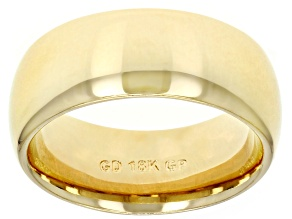 18k Yellow Gold Over Bronze Comfort Fit Band Ring