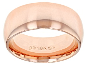 18k Rose  Gold Over Bronze Comfort Fit Band Ring