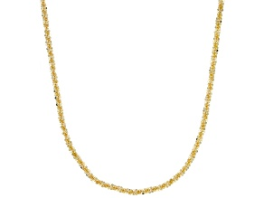 18k Yellow Gold over Bronze Glitter 40 inch Chain Necklace