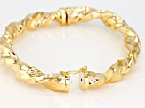 18k Yellow Gold over Bronze Hollow Torchon 7 inch bangle bracelet