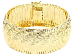 18k Yellow Gold over Bronze Diamond Cut Wave Omega 7 1/2 inch Bracelet
