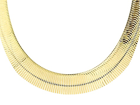 18k Yellow Gold over Bronze Graduated Half Moon Cleopatra 18 inch Necklace