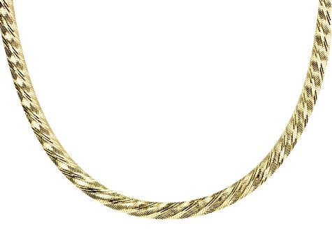 18k Yellow Gold over Bronze Diamond Cut Reversible Omega 18 Inch Necklace