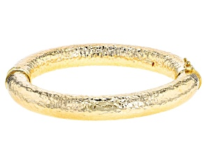18k Yellow Gold over Bronze Hollow Hammered 7 inch Bangle Bracelet
