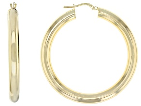 18k Yellow Gold over Bronze Polished Hoop Earrings