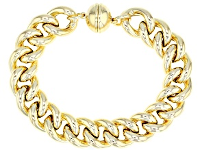 18k Yellow Gold over Bronze Polished Curb 7 3/4 inch Bracelet