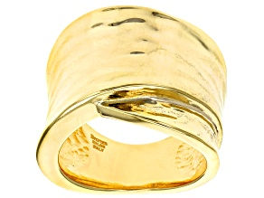 18k Yellow Gold over Bronze Polished Statement Ring