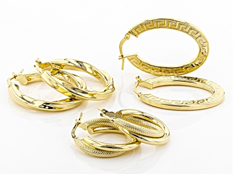 18k Yellow Gold Over Bronze Greek Key, Twisted, Textured Hoop Earrings Set Of Three