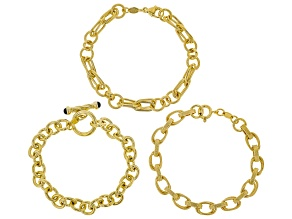0.20ctw Onyx 18k Yellow Gold Over Bronze inch Bracelet Set of Three