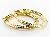 18k Yellow Gold Over Bronze 39mm Diamond Cut Knife Edge Hoop Earrings