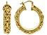 18k Yellow Gold Over Bronze 20mm Byzantine Link Hoop Earrings