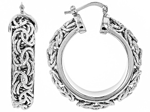 Rhodium Over Bronze 20mm Byzantine Link Hoop Earrings