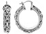 Rhodium Over Bronze 20mm Byzantine Link Hoop Earrings
