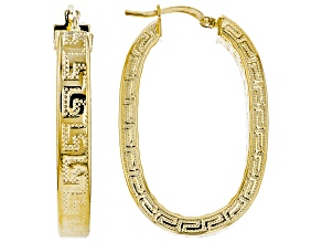 18k Yellow Gold Over Bronze Oval Greek Key Hoop Earrings
