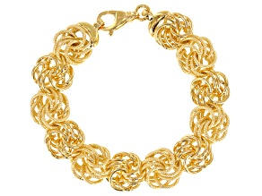 18k Yellow Gold Over Bronze Designer Rosetta Link 8.5 inch Bracelet