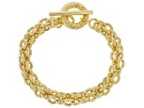 18k Yellow Gold Over Bronze Cable 8 1/2 inch Bracelet