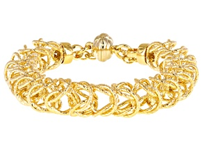 18k Yellow Gold Over Bronze Square Curb 6 1/2 inch Bracelet