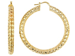 18k Yellow Gold Over Bronze Textured Hoop Earrings