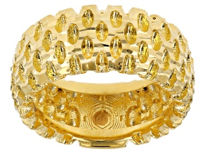 18k Yellow Gold Over Bronze Diamond Cut Wide Band Ring